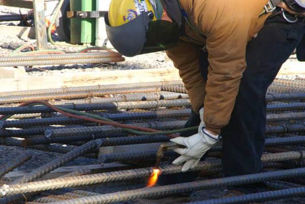 Torch cut rebar