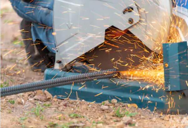 chop saw cutting steel rod